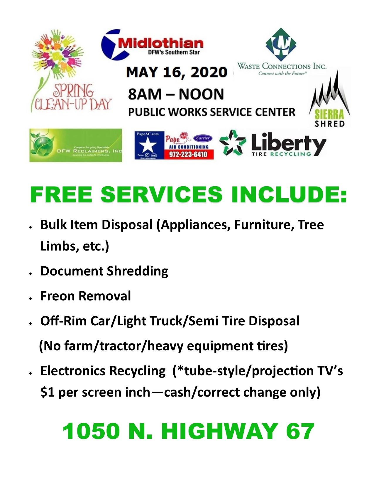 2020 SPRING CLEAN UP DAY MAY DATE