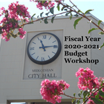Budget Workshop - City Hall clock tower with pink crepe myrtles