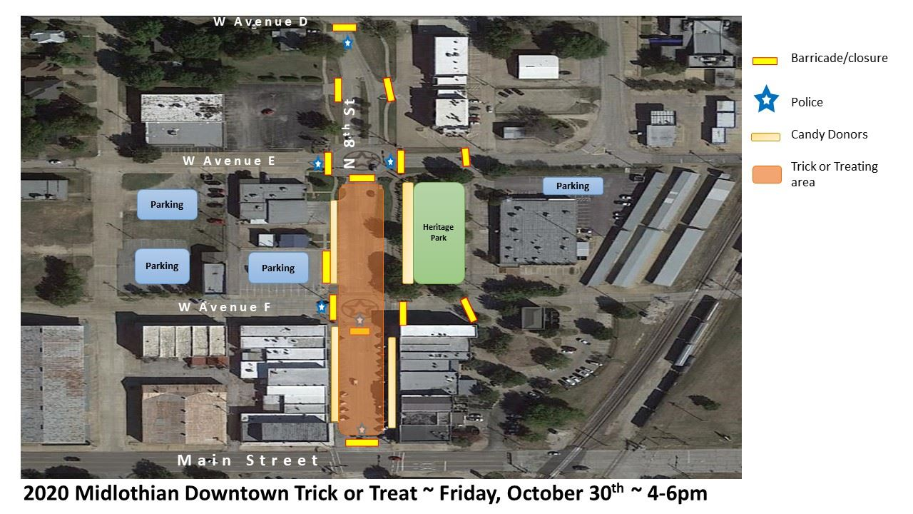 map of downtown designating parking, road closures, etc for trick or treat event
