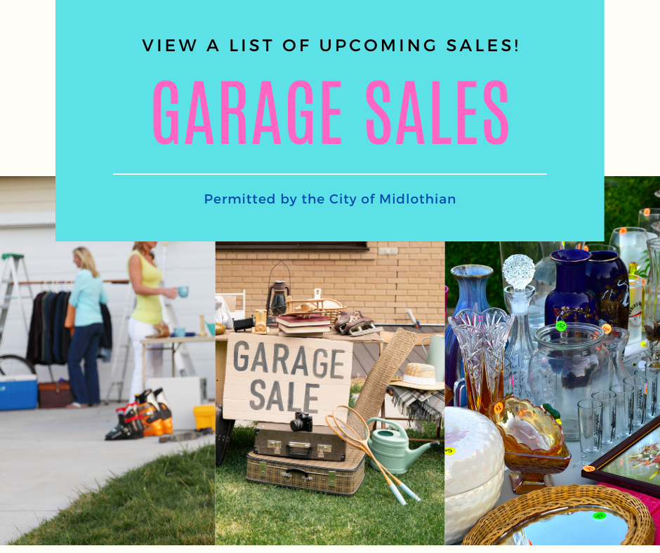 Garage Sales in pink letters on blue background with 3 garage sale images of people and items