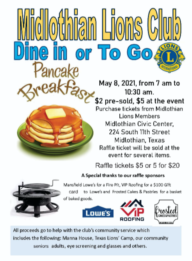 Midlothian Lions Club Pancake Breakfast Flyer