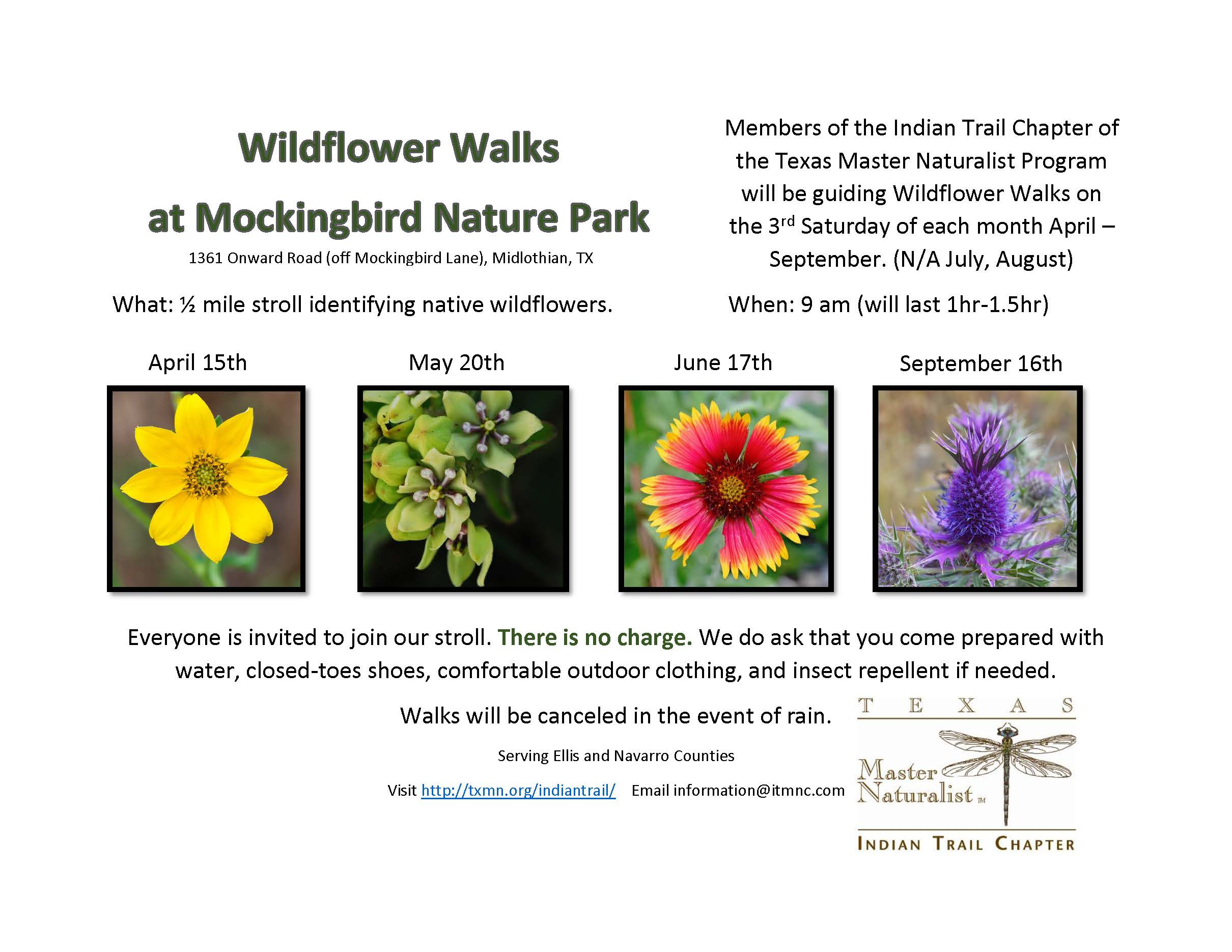 Wildflower Walks Flyer 2017