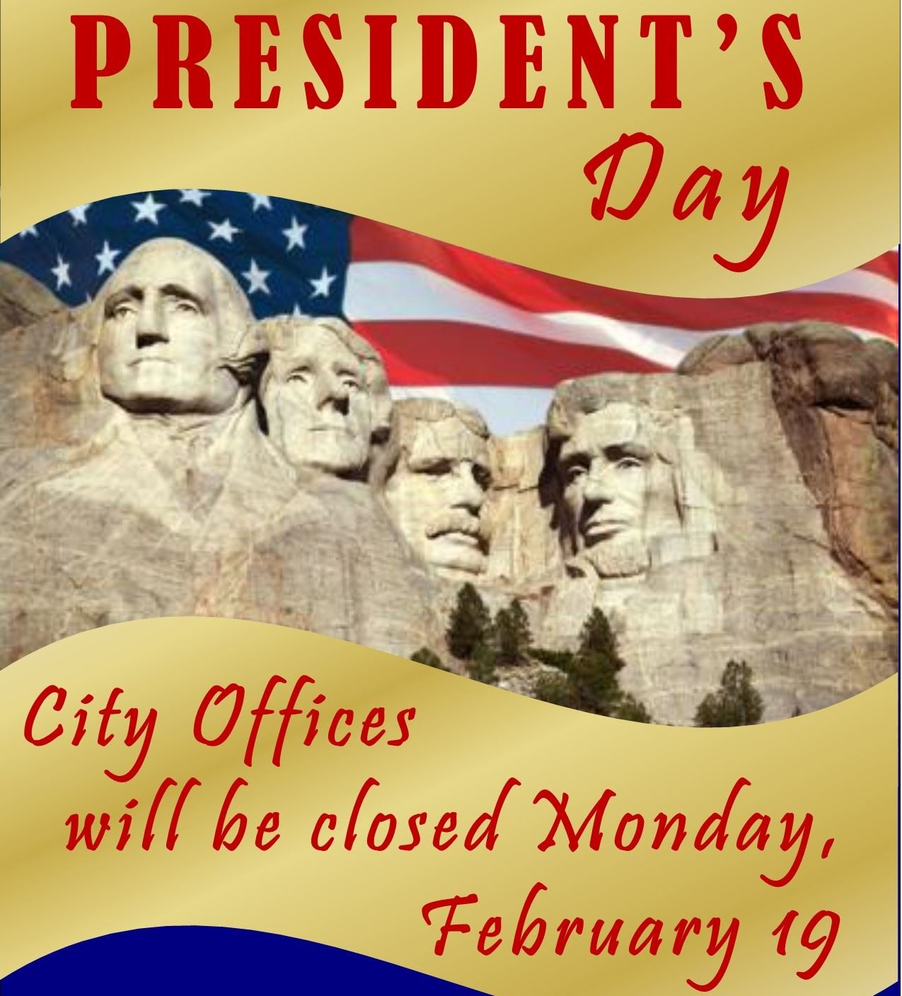 Closed Presidents Day 2018