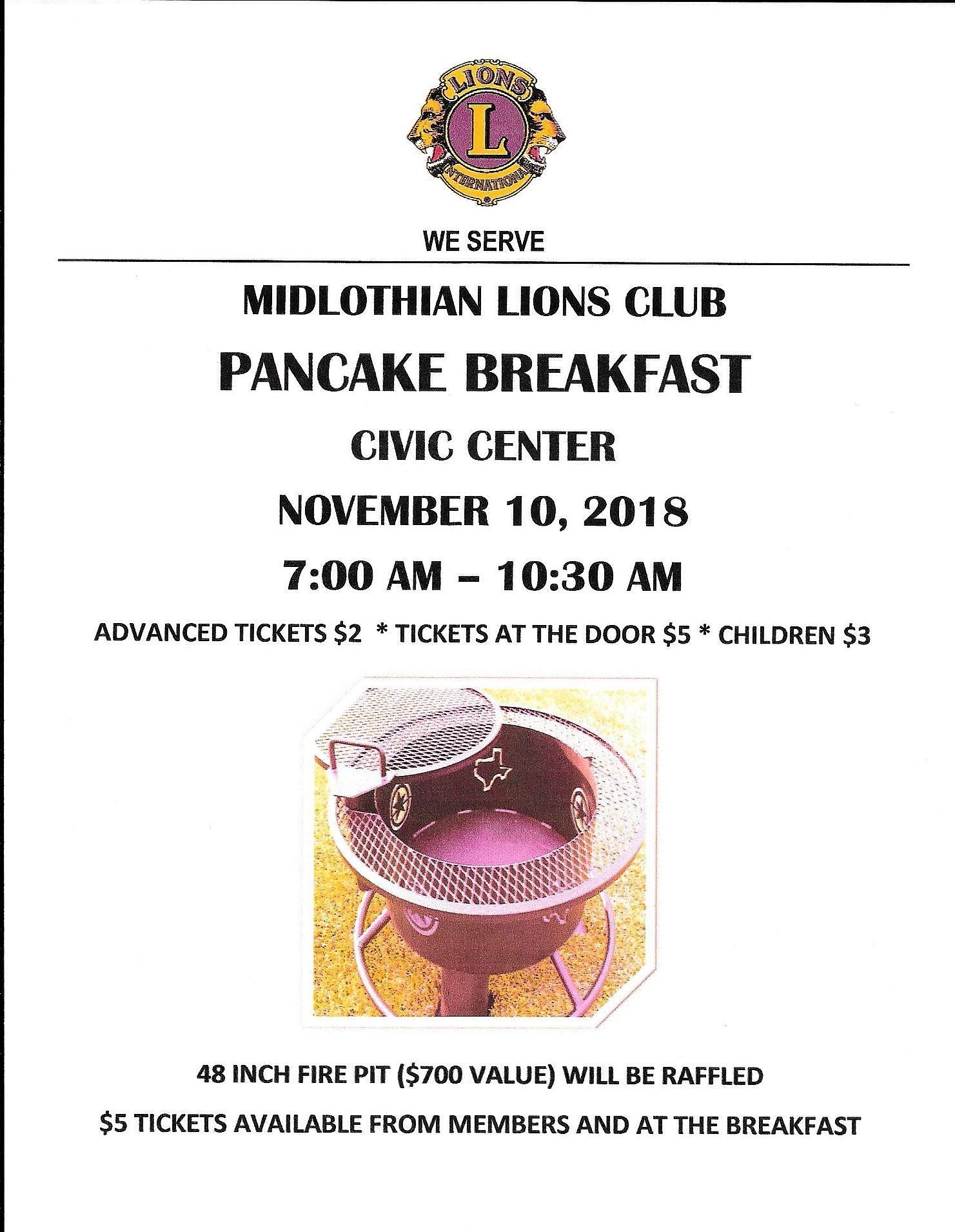 Lions Club Pancake Breakfast Flyer