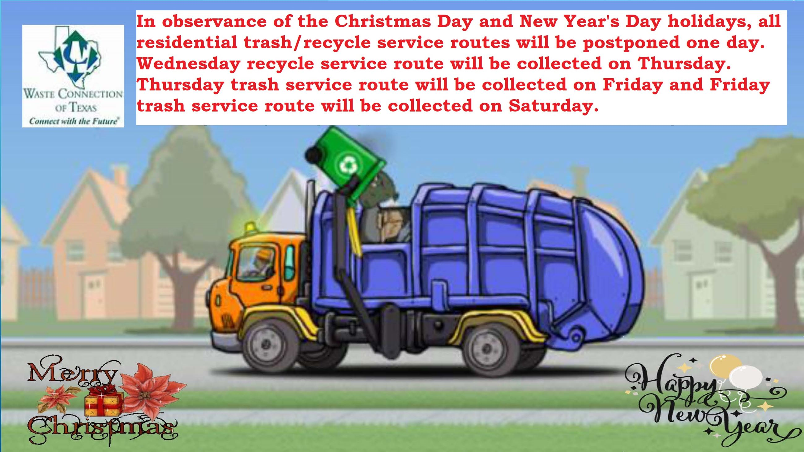 Holiday Trash Schedule Change 2019