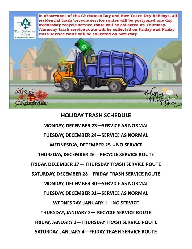 2019 - 2020 Holiday Trash Schedule